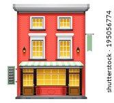 facade of a coffee shop store... | Shutterstock .eps vector #195056774