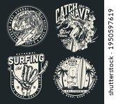 extreme surfing vintage badges...   Shutterstock .eps vector #1950597619