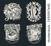 surfing vintage monochrome... | Shutterstock .eps vector #1950597640