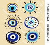 evil eyes set. colorful eyes... | Shutterstock .eps vector #1950598933