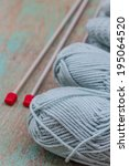 ball of yarn and knitting on a... | Shutterstock . vector #195064520