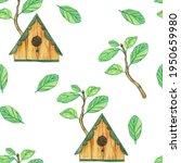 Seamless Pattern Of Birdhouse...