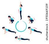 woman doing burpee exercise in... | Shutterstock .eps vector #1950669109
