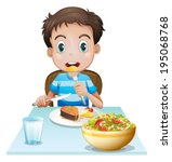illustration of a hungry young... | Shutterstock .eps vector #195068768