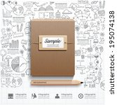 infographic book with  doodles... | Shutterstock .eps vector #195074138