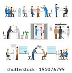 illustrations of people working ... | Shutterstock .eps vector #195076799