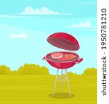 Round Barbeque On Stand With...