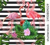 pink flamingos hibiscus ...   Shutterstock . vector #1950809029