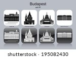 landmarks of budapest. set of... | Shutterstock .eps vector #195082430
