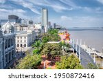"""The Malecon Simon Bolivar"""" Avenue in Guayaquil with the Municipality building and other modern buildings; which is next to the pier and Guayas river."""