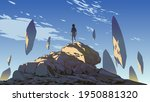 young boy standing on the...   Shutterstock .eps vector #1950881320