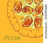 vector neapolitan pizza with... | Shutterstock .eps vector #195090680