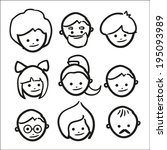 hand drawn faces. vector eps10... | Shutterstock .eps vector #195093989