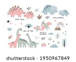 cute dino mom and baby. cartoon ... | Shutterstock .eps vector #1950967849