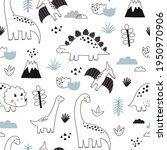cute doodle dino. cartoon... | Shutterstock .eps vector #1950970906