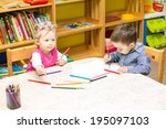 two little kids drawing with... | Shutterstock . vector #195097103