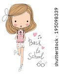 girl. back to school  | Shutterstock .eps vector #195098339