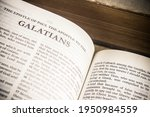 Small photo of Chiang Mai, Thailand. 30 March 2021. The Book of Galatians the Holy Bible, King James version.