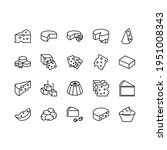 cheese flat line icons set on...