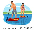 people rowing and surfing ... | Shutterstock .eps vector #1951034890