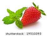 strawberry and mint leaves isolated - stock photo