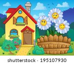 house and flowers 3   eps10... | Shutterstock .eps vector #195107930