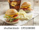 sandwich with chips and soda | Shutterstock . vector #195108080