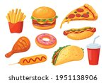 fast food. pizza and hamburger  ... | Shutterstock .eps vector #1951138906