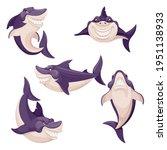 cute shark. dangerous fish ... | Shutterstock .eps vector #1951138933