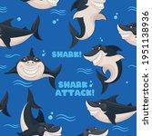 shark seamless pattern. sea... | Shutterstock .eps vector #1951138936