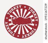 turkey stamp. travel red rubber ... | Shutterstock .eps vector #1951167229