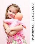 Cute Little Girl Child Holding...