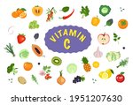source of vitamin c. icons of... | Shutterstock .eps vector #1951207630