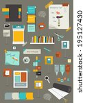 collection of flat colorful... | Shutterstock .eps vector #195127430