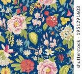 bloom. vintage floral seamless... | Shutterstock .eps vector #1951291603