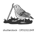 bird sparrow pulls the worm out ... | Shutterstock .eps vector #1951311349