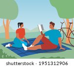 couple picnic  romantic date.... | Shutterstock .eps vector #1951312906