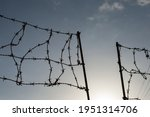 Sunny Sky And Barbed Wire