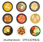 top view of different dishes...   Shutterstock .eps vector #1951329826