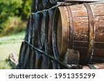 Close Up Of Wooden Old Wine...