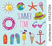 cute colorful set of summer... | Shutterstock .eps vector #195137204