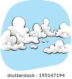 cartoon sky with soft  friendly ... | Shutterstock .eps vector #195147194