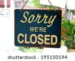 vintage metal closed sign on... | Shutterstock . vector #195150194