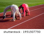 Flexible Girls Gymnasts Stand...