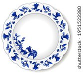 porcelain plate with blue on...   Shutterstock .eps vector #1951523380