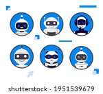 set of different chat bot heads ...