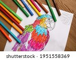 Child's Colored Drawing With...