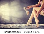 retro photo of woman legs  | Shutterstock . vector #195157178