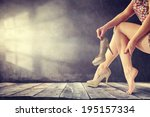 legs of woman and wooden floor  | Shutterstock . vector #195157334