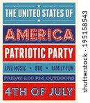 retro style party flyer for the ... | Shutterstock .eps vector #195158543